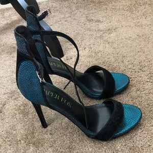 Teal Suede Heeled Sandals